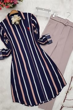 Home - eTrend Shopping : Striped Tunic-Pink Islamic Fashion, Muslim Fashion, Hijab Fashion, Fashion Dresses, Sleeves Designs For Dresses, Dress Designs, Mode Abaya, Stylish Dresses For Girls, Kurti Designs Party Wear