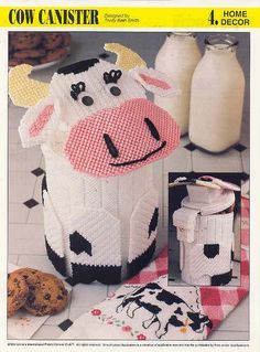 COW CANISTER plastic canvas pattern by puddinpop on Etsy, $4.50