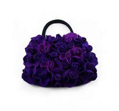 Felted Bag Purple Bag Roses Purse Rose Handbag Art Bag Nunofelt Nuno felt Silk…