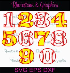 Baseball Softball Numbers Instant download SVG, Eps, DXF Cutting File by RhinestoneandGraphic on Etsy