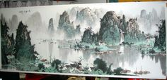 river landscape with mountains in chinese painting
