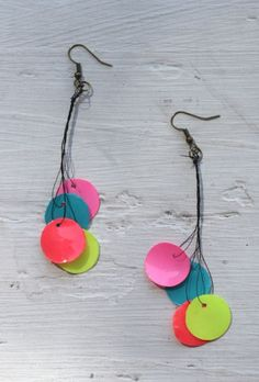 DIY paper bead neon earrings using Mod Podge & Dimensional Magic