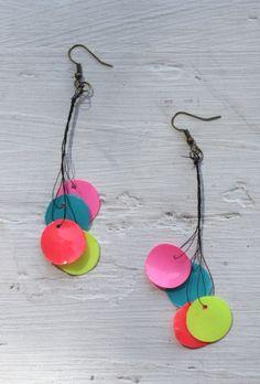 DIY paper bead neon earrings