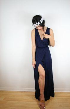 SUMMER Dream Dress. Black Cotton Maxi Wedding Dress. Prom Dress or Bridesmaids Dress. Bohemian Wedding Dress. Maxi Dress With Thigh Slit
