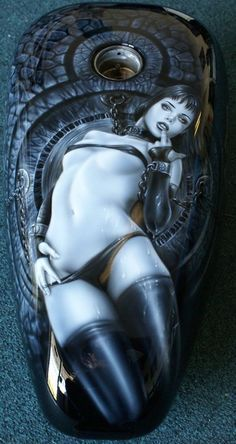 """Custom Motorcycle Painting On Your Tins """"Harley Girl"""" gas tank freehand airbrush"""