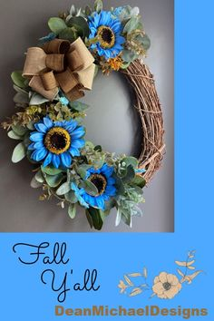Grapevine wreath for fall. Fall wreath for front door. Fall decor. Blue sunflowers from DeanMichaelDesigns. Gorgeous blue sunflowers to welcome fall. This wreath is an 18-19 inch oval. Interior design. Exterior design. Curb appeal. #homedecor #falldecor #wreath