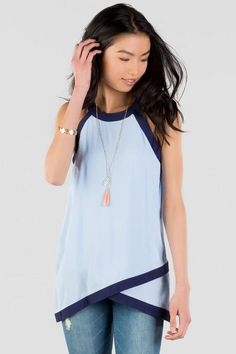 Belfair Colorblock Tank- This blue & navy colorblock halter tank features a unique asymmetrical hem. Fix Clothing, Stitch Fix Stylist, Dress Me Up, Passion For Fashion, Dress To Impress, Ideias Fashion, Cute Outfits, Style Inspiration, Fashion Outfits
