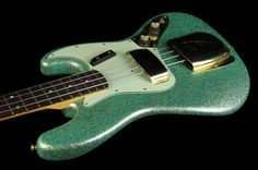2010 Fender Custom Shop '60 Jazz Bass Relic Seafoam Sparkle with Matching Headstock - Used | The Music Zoo