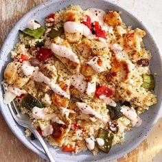 Recipe: Chicken over Couscous Salad with Spicy Sour Cream - Blue Apron Recipe Chicken, Chicken Recipes, Couscous Recipes, Chicken Couscous Salad, Hello Fresh Recipes, New Cooking, Roasted Peppers, Chicken Seasoning, Blue Apron