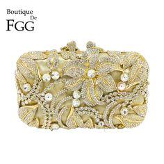 7ef94ff613 Boutique De FGG Elegant Crystal Evening Purse Women Metal Minaudiere  Handbag Wedding Flower Handbag Bridal Gold Clutch Bag Review
