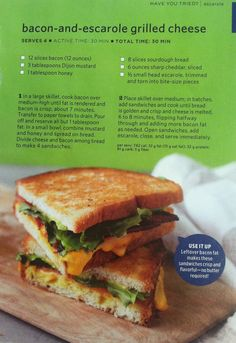 Bacon and escarole grilled cheese