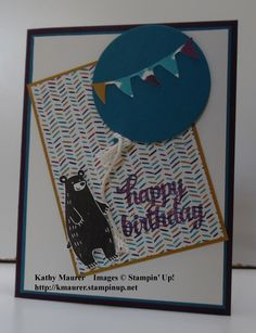 Stampin' Up!'s Thankful Forest Friends Stamp Set is used to make this birthday card.  For details, go to my Thursday, November 5, 2015, blog at http://kmaurer.stampinup.net