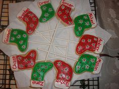 Christmas stocking cookies on a stick