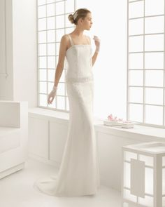 pronovias wedding dress Beaded Embroidered Dot Tulle Dress in DONCELLA 91163 Style of ROSA CLARÁ - Beaded embroidered dot tulle and Georgette dress with hemstitch detail, in ecru. Rosa Clara Wedding Dresses, Pronovias Wedding Dress, White Wedding Gowns, 2016 Wedding Dresses, Elegant Wedding Dress, Wedding Dress Styles, Trendy Wedding, Wedding Ideas, Laura Lee
