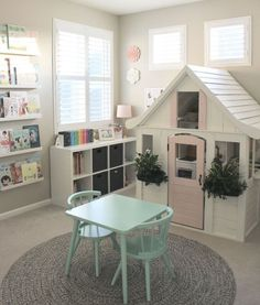 Love that they painted the play hours to match the room!   #playroom #kids #kidsroom #homedecor #home #organization Playroom Design, Play Houses, Corner Desk, Ikea, Basement, Ikea Co, Walkout Basement, Basements, Basement Stair