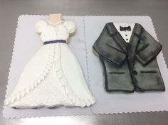 Wedding dress and tux cupcake cake made with 24 cupcakes each and buttercream icing by Laurie Grissom Cupcake Cake Designs, Cupcake Cakes, Pull Apart Cupcakes, Buttercream Icing, Themed Cakes, How To Make Cake, Cake Ideas, Cake Decorating, Wedding Cakes