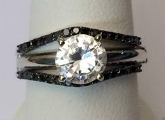 10k White Gold Skinny Solitaire Enhancer Black Diamonds Ring Guard Wrap Jacket by RG&D... #gold #diamonds #ringguard #wrap #enhancer #fashion #jewelery #love #gift #ringjacket #engagement #wedding #bridal #engaged #whitegold #yellowgold #online #shopping #jewelry #pintrest #follow #richmondgoldanddiamonds