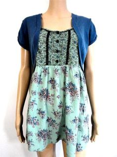 pretty floral plus size smock top with faux shrug