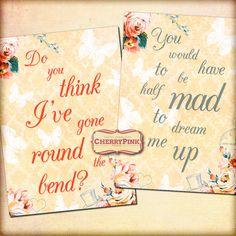 ALICE in WONDERLAND QUOTES Wonderland by CherryPinkPrints on Etsy