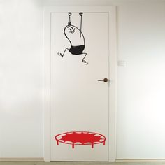 """Save wally from falling! Create a decorative space with fun vinyl wall sticker from the """"wally my wall buddy"""" vinyl wall decor series. This vinyl wall decal can be applied in kids' rooms or play areas to create a unique funny scene. Wall Painting Decor, Wall Decor, Painted Bedroom Doors, Wall Design, House Design, Cool Kids Rooms, Door Murals, Wall Drawing, Vinyl Wall Stickers"""