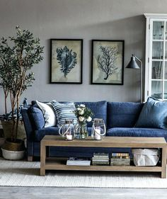 Image result for dark blue leather couch