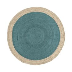 SPO Bordered Round Jute Rug, 6' Round, Blue Sage