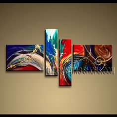 Enchanting Modern Abstract Painting Oil Painting On Canvas For Living Room Abstract. This 4 panels canvas wall art is hand painted by A.Qiang, instock - $155. To see more, visit OilPaintingShops.com