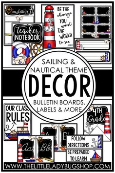 Get ready for back to school with the Nautical and Sailing decor theme! This editable set is fun, unique, and has everything you need to decorate your classroom with a cohesive look. The perfect DIY bundle for any elementary classroom, including posters, name plates, alphabet posters, teacher notebook, organization labels, bulletin board decor, and more! #thelittleladybugshop