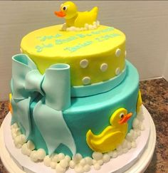 #rubberducky your the one...  #cake #icing #fondant #bubbles #bubblebath #bow #ducky #duck #bathtime #polkadots #edible