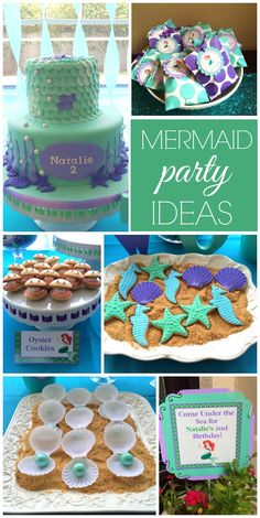 So many lovely decorations and treats at this Under the Sea Little Mermaid girl birthday party! See more party ideas at CatchMyParty.com!