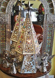 Punched Tin Lit Christmas Tree - Mexican Folk Art