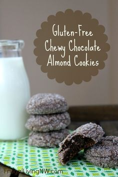 Gluten-Free Chewy Chocolate Almond Cookie Recipe-- I will use coconut oil instead of butter
