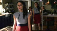 Spencer's grey and red dress on Pretty Little Liars.  Outfit Details: http://wornontv.net/3873/ #PrettyLittleLiars