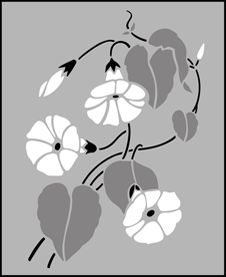 Fruit and Flower Morning Glory  stencils, stensils and stencles