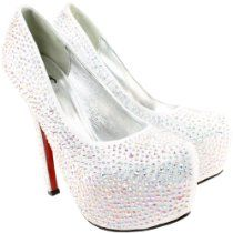 Womens Silver Diamante High Stiletto Heel Court Shoes