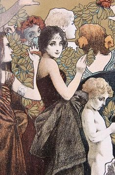 Gorgeous graphics lithography Austrian Koloman Moser (1868-1918), one of the brightest representatives of the Viennese Art Nouveau!  At the heart of the composition - the solemn procession: well-dressed men and women, children, similar to the angels joyfully greeted the arrival of spring.