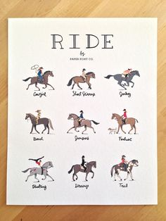 RIDE Equestrian Art Print // 8x10 Archival Inks // Hand Lettered Typography Poster Horses Pony Girls Riders // by Paper Pony Co.
