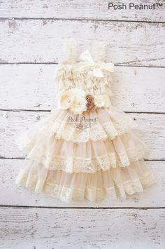 lace flower girl dress rustic flower girl dress by PoshPeanutKids, $55.00
