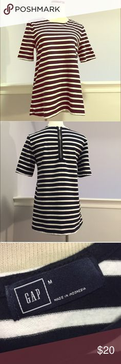 GAP Gwen Navy White Nautical top M Zipper Back Very classy Gap Gwen top in classic navy and white stripes.  A-line shape with zipper on back. In great shape! A nice staple piece for your year-round wardrobe! GAP Tops