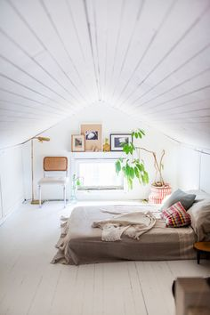 Light attic bedroom