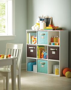 Here is a great storage solution for a play room or kids bedroom.