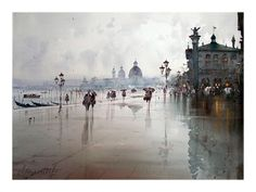 Watercolor on Paper 'After the rain in Venice' by Djukarić Dusan