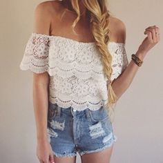 Sexy Summer Women's Lace Crochet Tops Off Shoulder T-Shirt Casual Blouse New