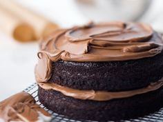 Double-Chocolate Layer Cake | Buttermilk keeps this cake frim Ina Garten moist and light, and the bit of coffee in the cake and frosting keeps the sweetness in check.
