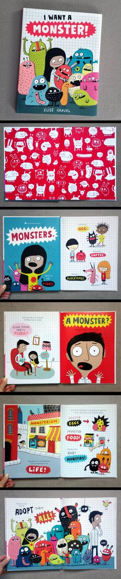 Elise Gravel Illustration • picture book • monsters • funny • children • adopt • I want a monster • kidlit • pet • cute • colorful • learning • fun