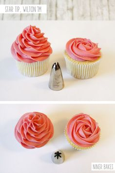 Now here comes a classic! Star tip (Wilton 1M).  You can make a classic swirl or create a beautiful rose on top of your cupcake. Start in the center and slowly, but with even pressure, move your decorating tip in a circular pattern around your center.