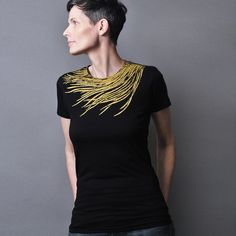 Women's T shirt Feather T shirt  Metallic Gold by sealmaiden