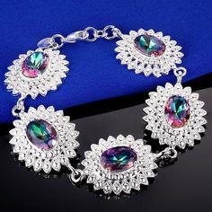 Vintage Oval Rainbow Mystic Topaz Silver Plated Bracelet   eBay