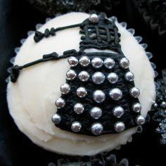 EDIBLE BALL BEARINGS. Oh, and it's a dalek on a cupcake. Hahaha... Humans, the only species in the universe to create edible daleks!