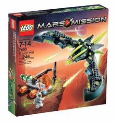 Lego Mars Mission ETX Alien Strike by LEGO. $110.95. Contains 246 pieces in total. Alien Strike transforms between stealth and attack mode, also has an opening cockpit. Includes alien attack ship, astronaut mining vehicle, 1 astronaut mini figure and 2 alien mini figures that glow-in-the dark. This alien attacker sneaks up to steal energy crystals from the astronaut mining vehicle. Human mining vehicle equipped with drill and alien transport pod. From the Manufacturer  ...